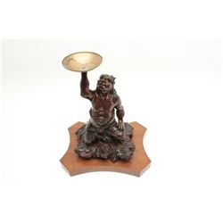 Japanese late Edo period bronze of oni (Demon  Ghost) with gold shakado and fine patination  by arti
