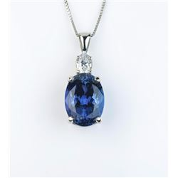 Gorgeous ladies necklace featuring a fine  Kashmir color African Tanzanite weighing 9.62  carats and