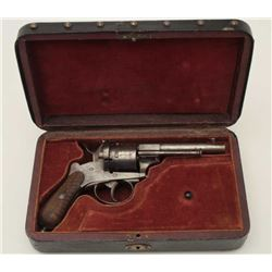 Intriguing cased pinfire pistol with plaque  on the lid of the box inscribed in period  script and b
