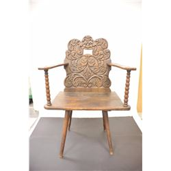 17th-18th century arm chair with ornate  raised carved back and arms. Very early style  pegged and p