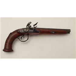 French Napoleonic era double barrel flintlock  officers pistol circa about 1800-1815.  Measures 14""