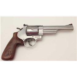 "Smith & Wesson Model 629-6 DA revolver, .44  Magnum caliber, 6"" barrel, stainless, custom  wood grip"