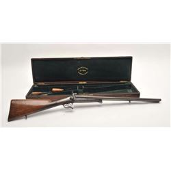 "Devisme cased pinfire under lever SxS  shotgun, 16 gauge, 24"" Damascus barrels,  engraved receiver,"