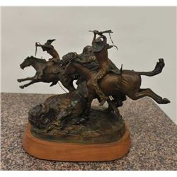 """Original bronze casting of Indians hunting  buffalo with great action and signed """"Kermitt  A. Otting"""