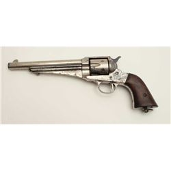 "Remington Model 1875 single action revolver,  .44-40 caliber, 7.5"" barrel, nickel finish,  wood grip"