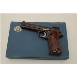Sig (Swiss made) Model P210-6, 9MM Semi-Auto  Pistol, S/N P306107. In original box with  1983 dated