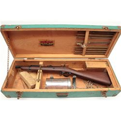 Springfield Trapdoor line throwing gun, in  wood case with accessories including metal  canister wit