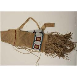 Early 20th century authentic American plains  Indian beaded rifle case with long fringe and  tanned