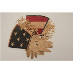 Buckskin gauntlets with flag tops and  fringed. Beaded 101 on each hand for famous  Wild West show.