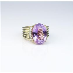 Very impressive ladies ring featuring an  extra fine Lavender Pink Kunzite weighing  approx. 15.00 c