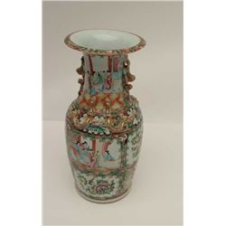 Chinese antique porcelain vase with overlaid  ornamental handles and hand painted scenes of  very go