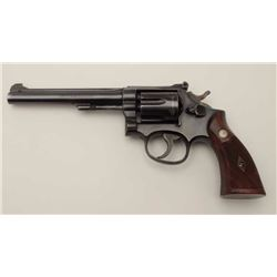 "Smith & Wesson K-22 DA revolver, 5-screw,  .22LR caliber, 6"" barrel, blued finish,  checkered wood m"