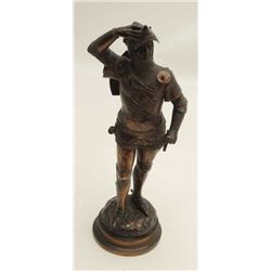 """Authentic antique bronze circa turn of the  century signed """"J.E. Masson"""" and shows  medieval knight"""