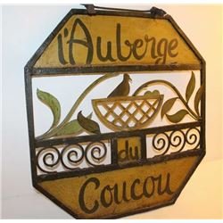 "French Hotel sign, painted iron and steel;  ca. 1920's to 40's; ""l'Auberge du Coucou"",  approximatel"
