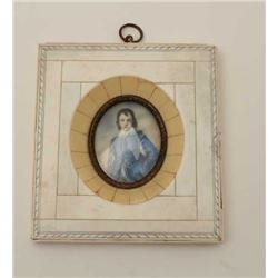 """19th century miniature painting after  Gainsboroughs """"Blue Boy"""" in bone frame. Est.:  $200-$400"""