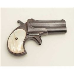 "Remington O/U derringer, .41 caliber, 3""  barrels, blued finish, pearl grips, S/N 361,  in overall g"