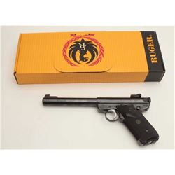 "Ruger Mark II Target semi-automatic pistol,  .22LR caliber, 7"" heavy barrel, blued finish,  checkere"