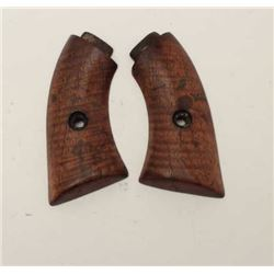 """Antique wood grips for small frame volcanic  pistol showing American """"Fiddleback Striping""""  like a K"""