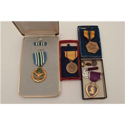 Lot of 4 misc. U.S. medals, all in cases; one  China Service; a Purple Heart & Dog Tag for  Fred God