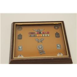 Framed U.S. military ribbons, pins and medals  from the Vietnam War with detailed  information on th