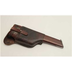 Wood stock for Mauser pistol with leather  stock carrier in overall good condition; iron  mounts (fr