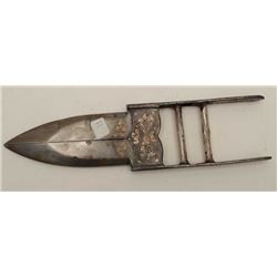 "Scissor bladed Qatar from India measuring 14  ½"" overall with a 7"" piercing blade. Silver  floral in"
