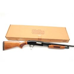 "Mossberg Model 500A pump action shotgun, 12  gauge, 18.5"" barrel, blued finish, checkered  wood stoc"