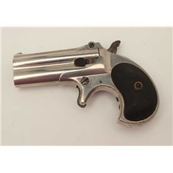 "Remington O/U derringer, .41RF caliber, 3""  barrels, nickel finish, checkered black hard  rubber gri"