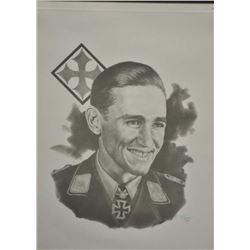 Limited edition print of 500 depicting World  War II German Major Gunther Rall.  The print  shows Ma