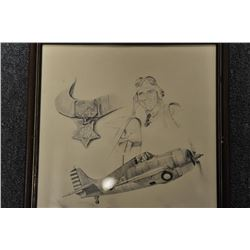 Framed unmarked litho of a Hellcat fighter  plane with profile of pilot and a  Congressional Medal o