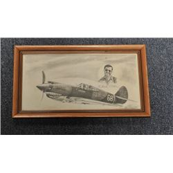 Framed pencil sketch of a Flying Tiger  fighter plane and sketch of pilot signed by  that pilot, Chu
