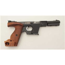 "Walther Model OSP semi-automatic target  pistol, .22 short caliber, 6"" barrel, blued  finish, wood t"