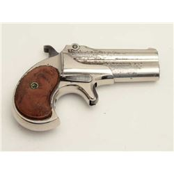 "Remington-UMC O/U derringer, .41RF caliber,  3"" barrels, nickel finish, replaced checkered  brown pl"