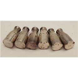 6 sterling salt shakers weighing 54gms  Est:$100-150
