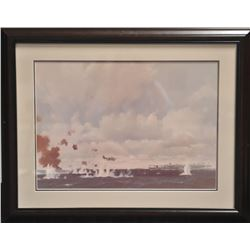 Large framed and matted color print of a U.S.  TBM plane in action flying toward a carrier;  approxi