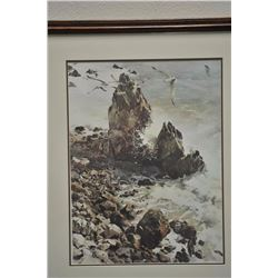 """Large framed and matted color print of surf  scene with rocks and sea gulls; approximately  41"""" x 34"""