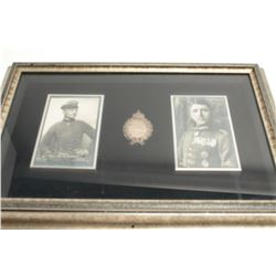 """Framed German Flying medal with photos of  """"Baron"""" von Richthofen and Leutnant  Immelmann, approxima"""