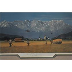 Framed and matted print of World War II P-51  Mustang fighters flying low over the European  country