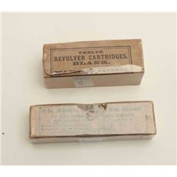 1889-dated revolver cartridges in box by  Frankford Arsenal (.45 Colt caliber), near  mint; also .38