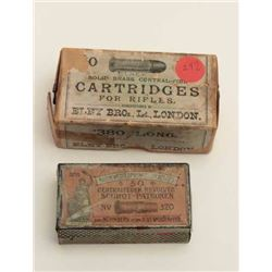 .380 Long rifle cartridges by Eley for Rook  Type rifles; black powder, full box; also a  tine box f
