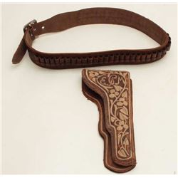 Mexican pitiado decorated leather holster and  leather cartridge belt, ca. early 1900's,  with initi