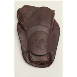 """Leather single loop holster by Heiser,  Denver, Colo. for a 3.5"""" Colt Model 1877 DA  revolver, with"""