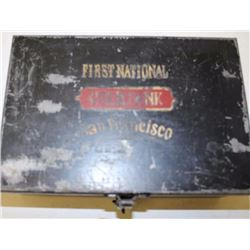 """Japanned black metal cash box painted on lid  """"First Nation/Gold Bank/San Francisco""""; about  50% pai"""
