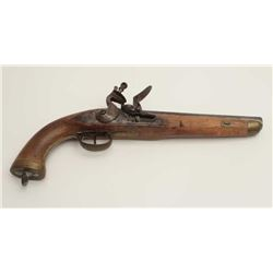 "Belgian flintlock trade pistol, .69 caliber,  9"" barrel, wood stock, brass mounts,  generally good o"