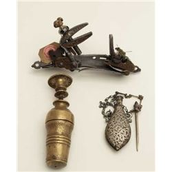 Mid-eastern collectors lot consisting of 3  items:  A.  Miquelet lock with fancy engraved  brass ove