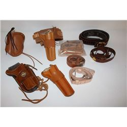 Lot of leather holsters, cartridge belts and  slings, 1 tooled single loop holster for a  Single Act