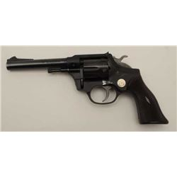 "Hi-Standard Model R=100 DA revolver, .22  caliber, 5"" barrel, blued finish, checkered  brown plastic"