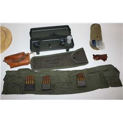 Misc. lot including a shooting jacket, an M1  Garand cleaning kit, a leather butt stock  cheek rest