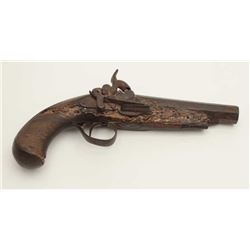 "Spanish percussion pistol, .68 caliber, 5.5""  barrel marked ""Fran Bamemecher/Ano 1856"";  un-cleaned"