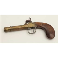 """Belgian percussion brass barreled pistol,  wood grip, 7.5"""" overall, working action,  taffy colored p"""
